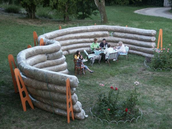 Experimental garden shelter tubing made of bio-degradable plastic and straw