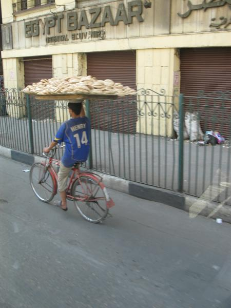It was amazing to watch a bread delivery boy in Cairo, Egypt