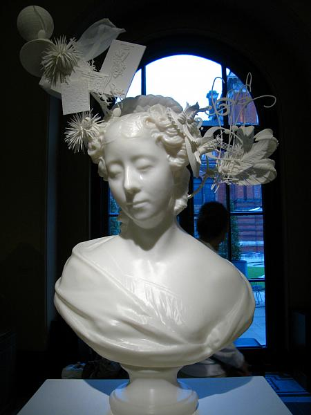 'Bust of Lady Belhaven, 1827' re-imagined with hat by Stephen Jones using 3D printing (additive manufacturing)